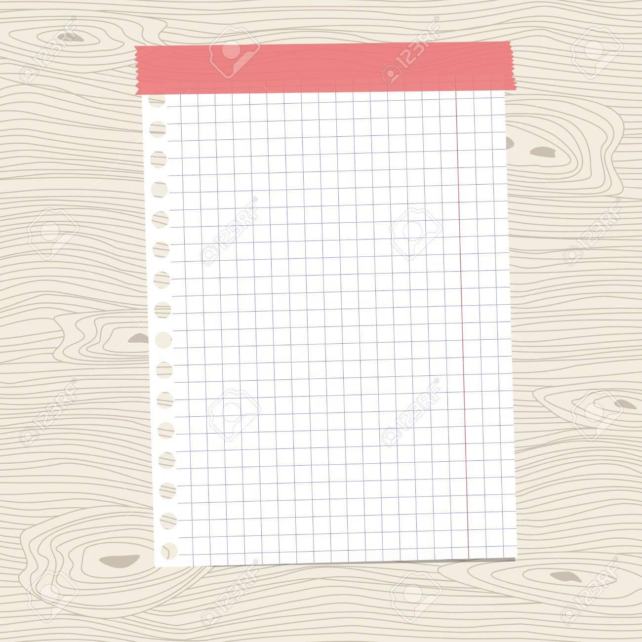Blanc Carre Feuille De Papier D Ordinateur Portable Colle Sur Le Mur En Bois Brun Bureau