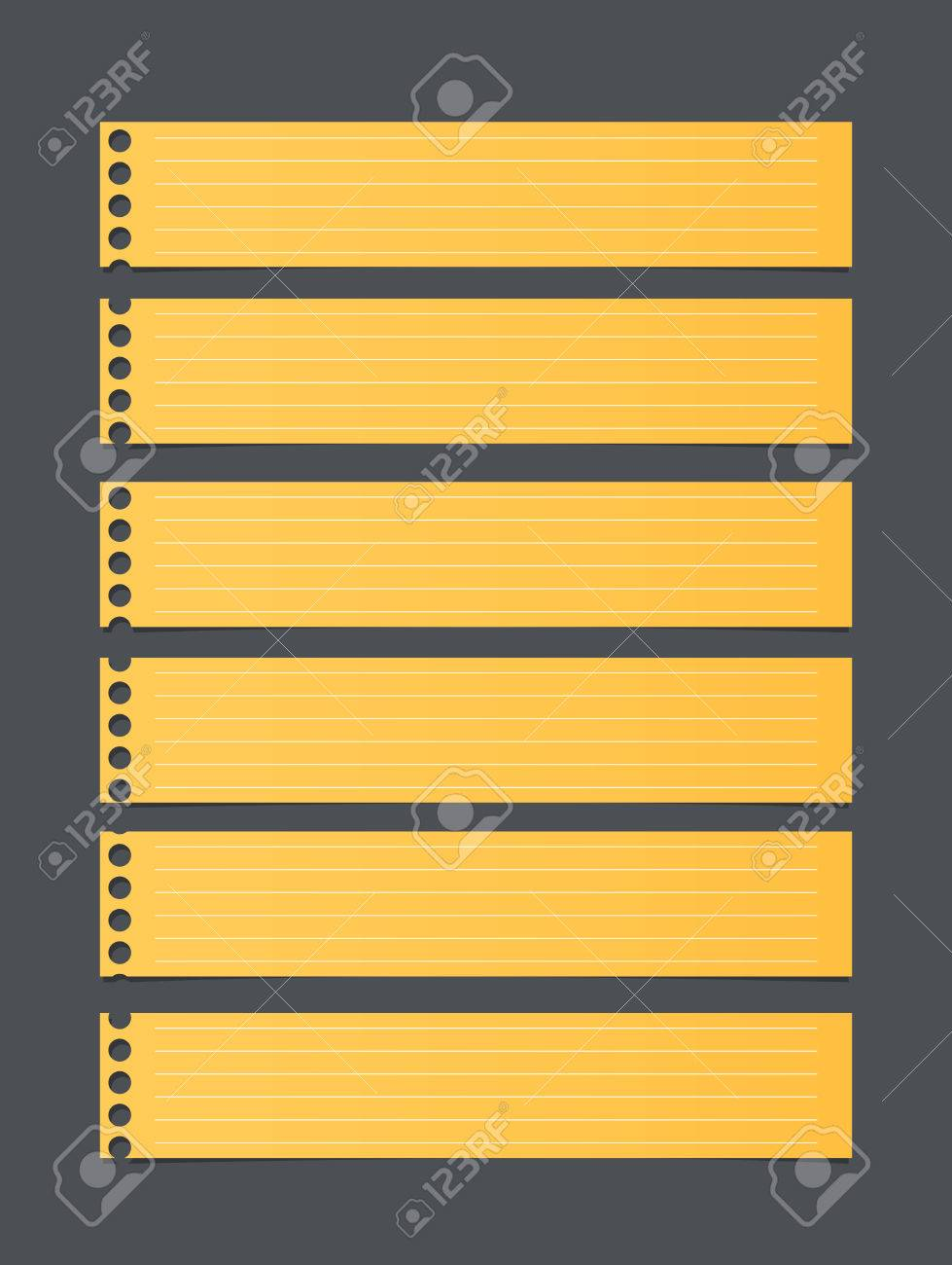 pieces of cut yellow lined notebook paper, banners are stuck