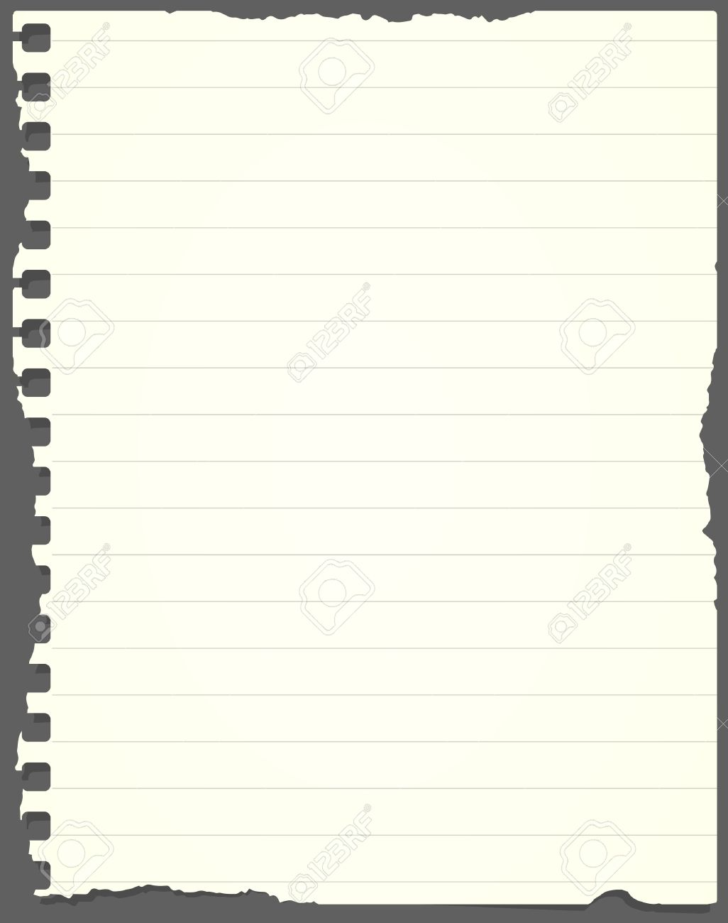 ripped light green lined notebook paper is stuck on gray background