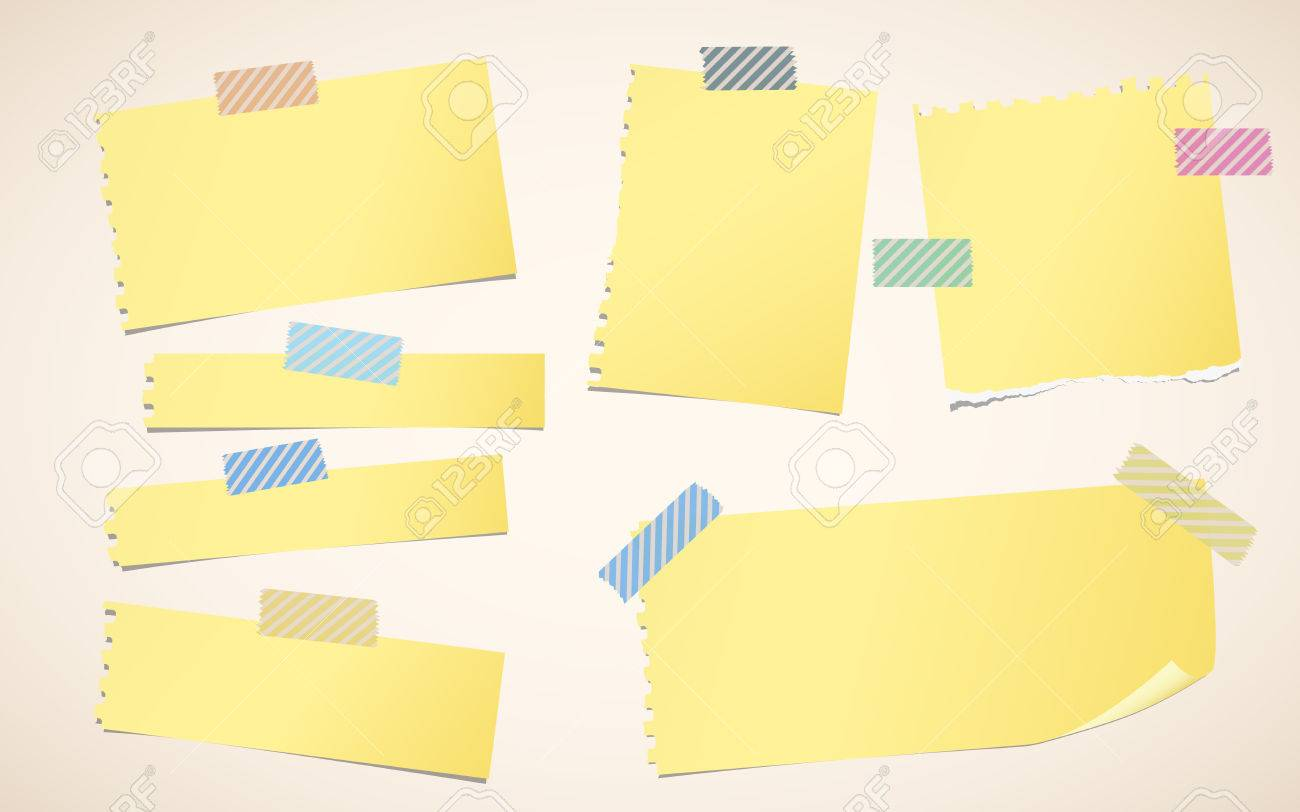 pieces of ripped yellow blank notebook paper are stuck with striped