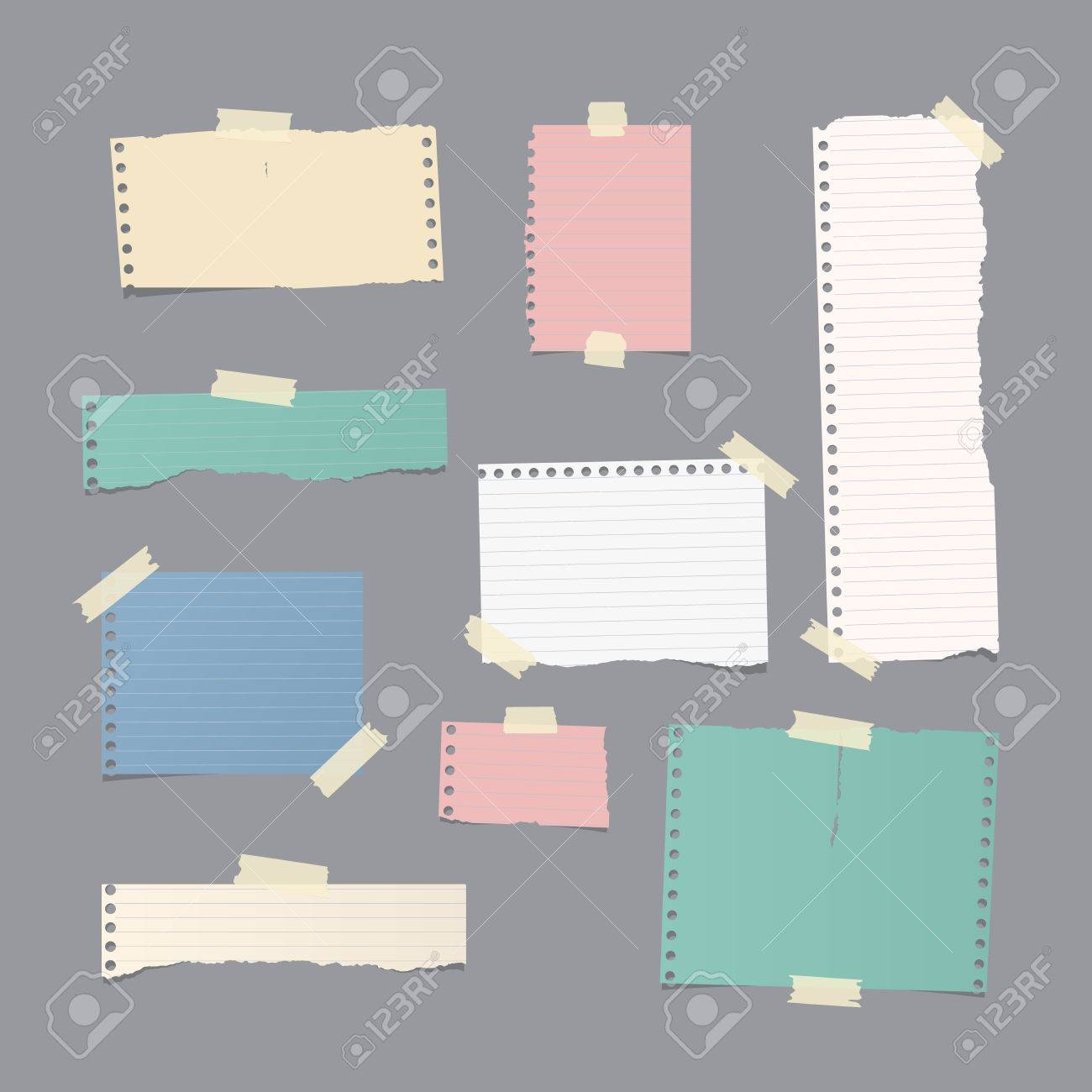 Pieces Of Different Size Ruled And Blank Colorful Note, Notebook ...
