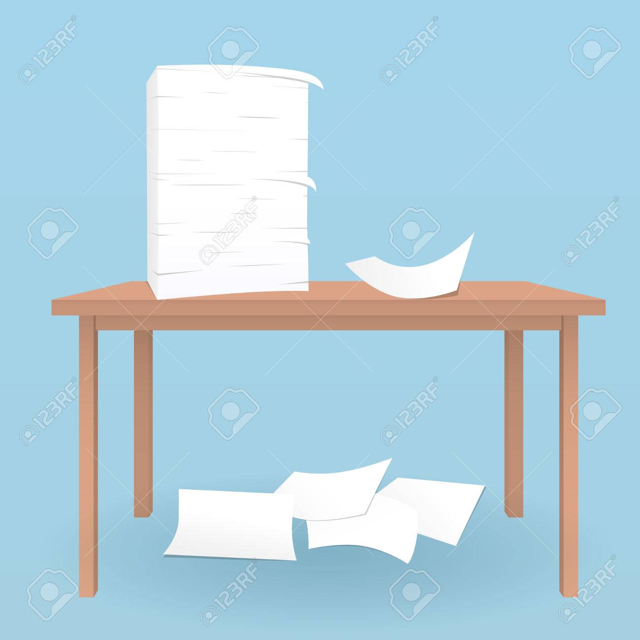 Stack Of White Sheets On Brown Table And Fallen Paper On Blue Royalty Free Cliparts Vectors And Stock Illustration Image 86701046