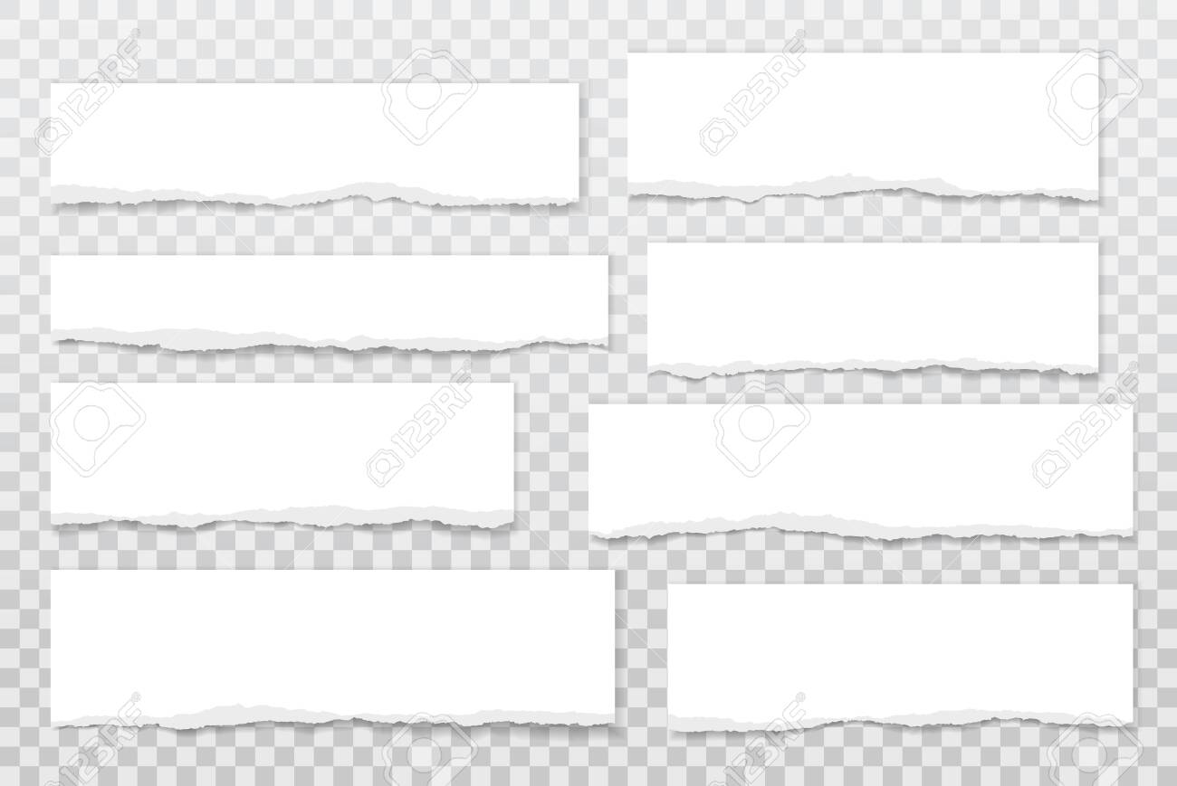 Torn of white note, notebook paper strips, pieces stuck with sticky tape on grey background. Vector illustration - 146733724