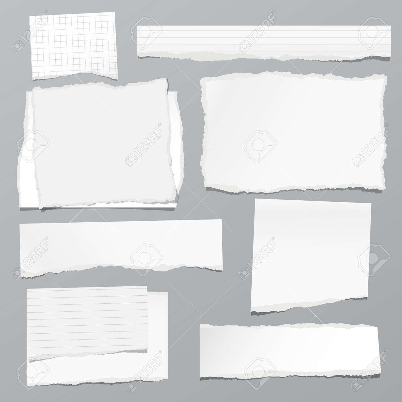 Torn of white note, notebook paper strips and pieces stuck on grey background. Vector illustration - 151805706