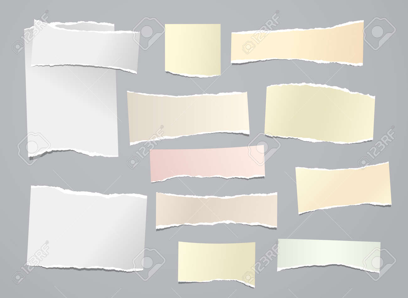 White and yellow torn note, notebook paper stripes are on grey background for text, advertising or design. Vector illustration - 169560972
