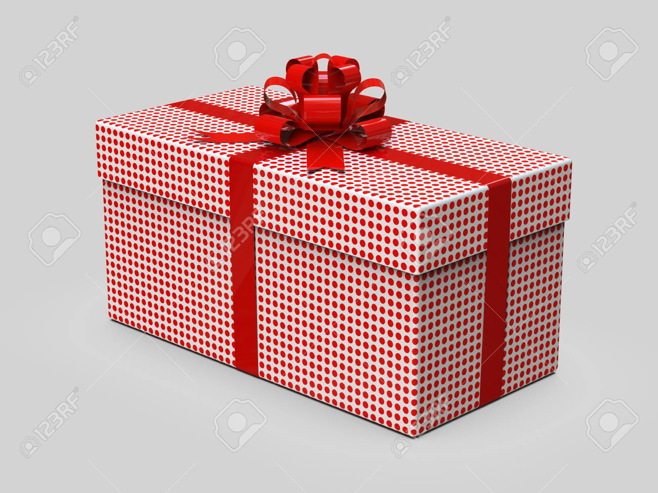 Gift box with bow isolane on white background. Stylish wrapper. 3D illustration Stock Illustration & Gift Box With Bow Isolane On White Background. Stylish Wrapper ...