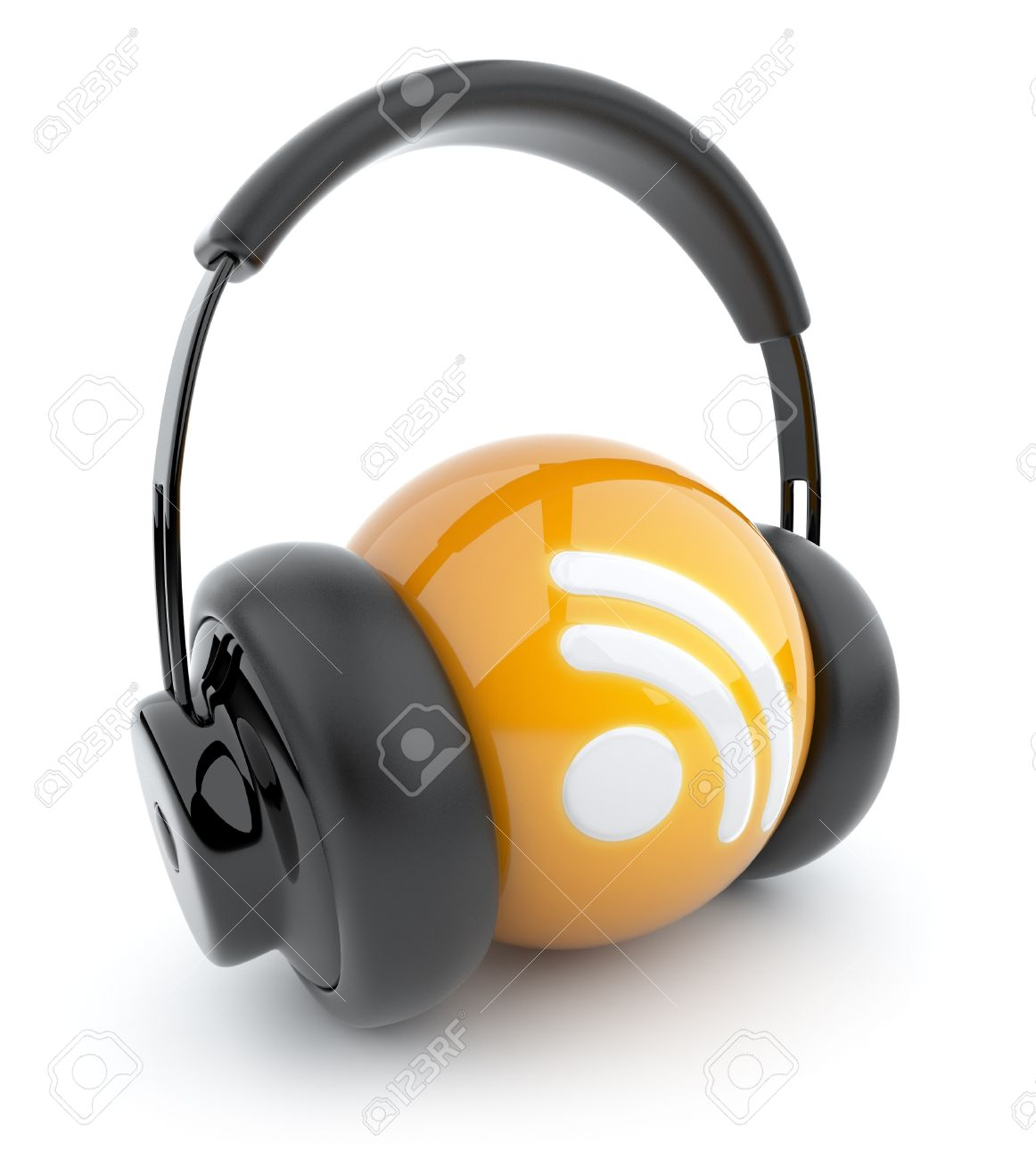 Feed or Rss icon 3D  Blog  Sphere witch audio headphones  Isolated