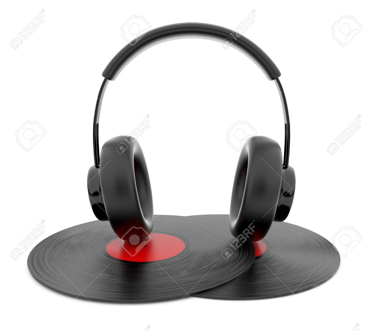 audio headphone on gramophone vinyl disc 3d. icon. isolated on