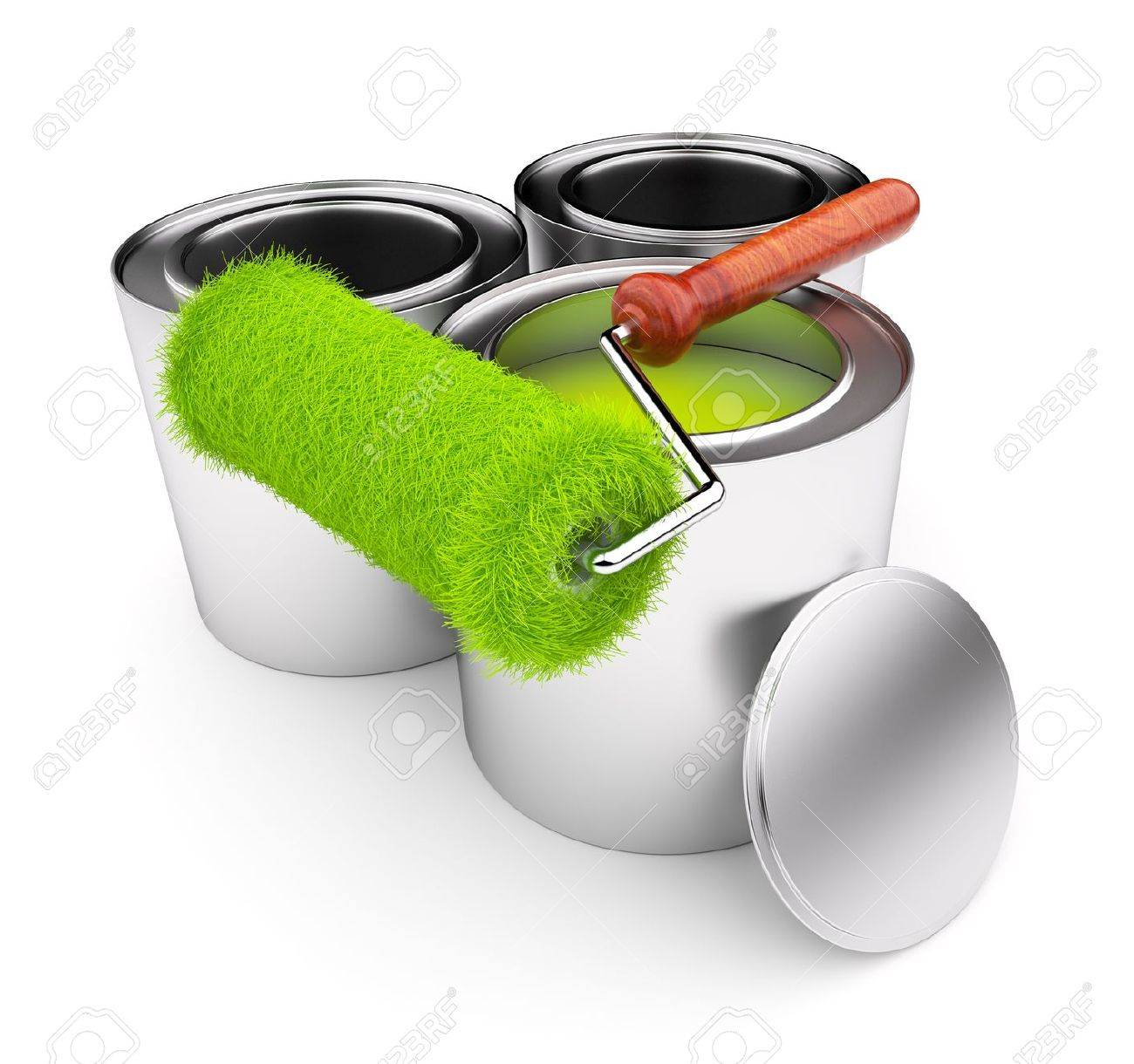 Green paint of grass. Roller and steel can isolated on white background. 3D illustration Stock Photo - 12780457