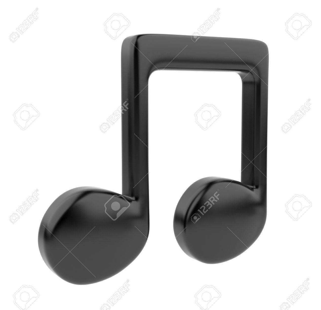 Black musical note 3D  Icon isolated on white background Stock Photo - 12780467