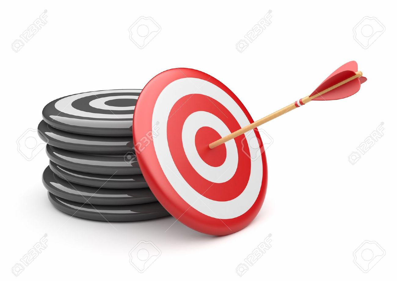 Arrow in target 3D  success hitting  Business concept  Isolated on white Stock Photo - 12780461