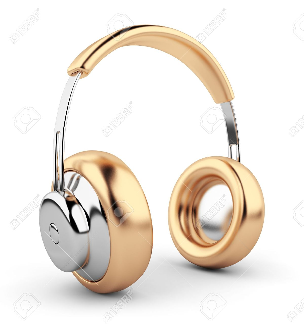 Golden headphones 3D. Icon. Isolated on white background Stock Photo - 12956888