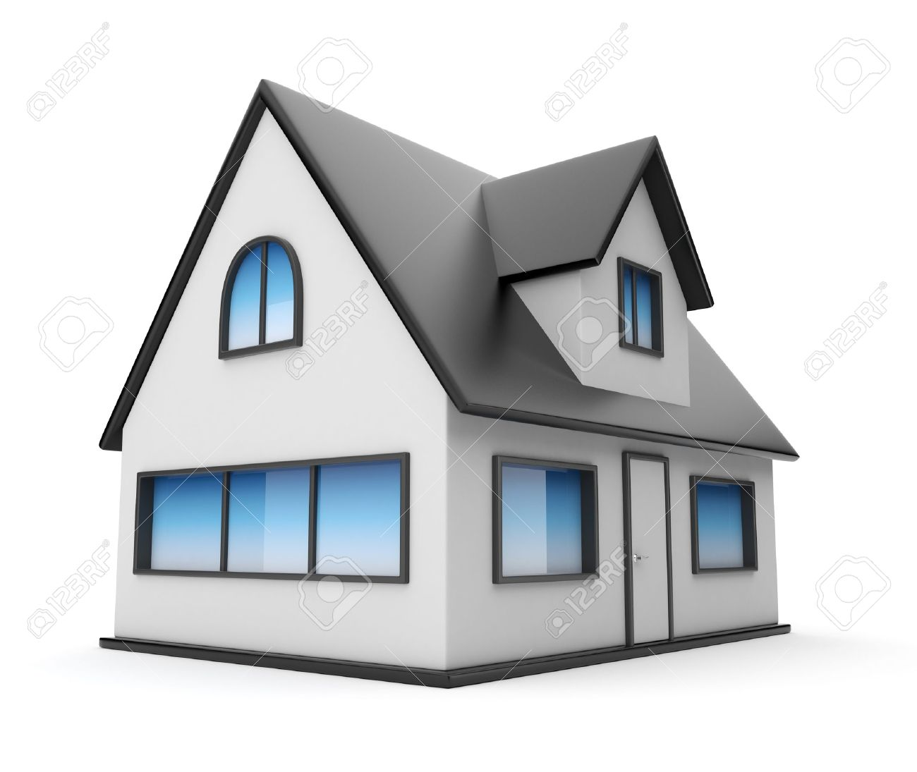 Small house. Icon 3D. Isolated on white background Stock Photo - 12956989