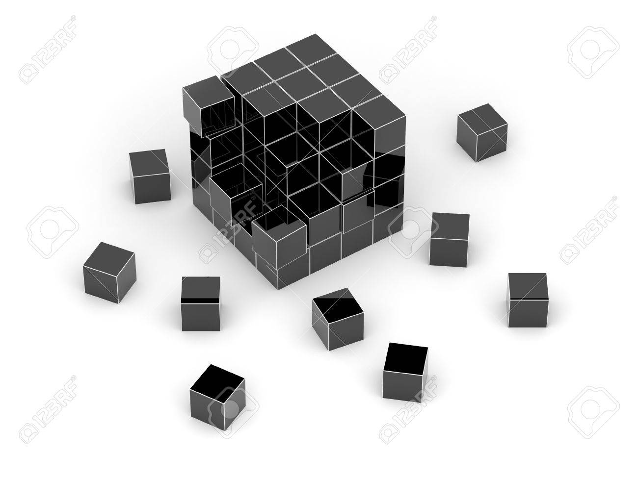 Black cube 3D. Isolated. Stock Photo - 13032000