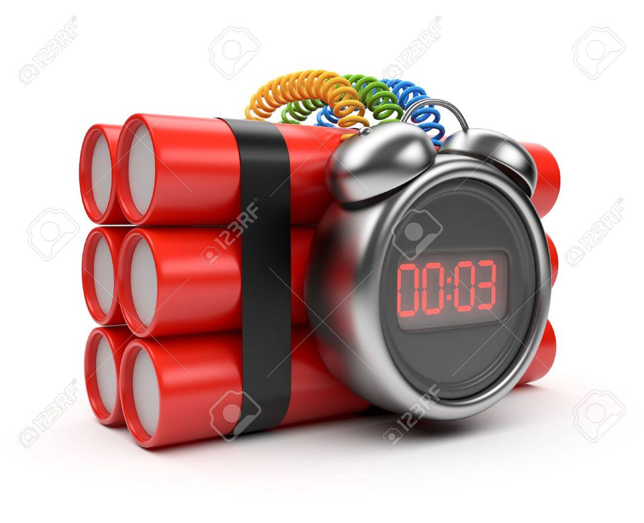 Bomb with clock timer 3D. Countdown. Isolated on white Stock Photo - 13077880