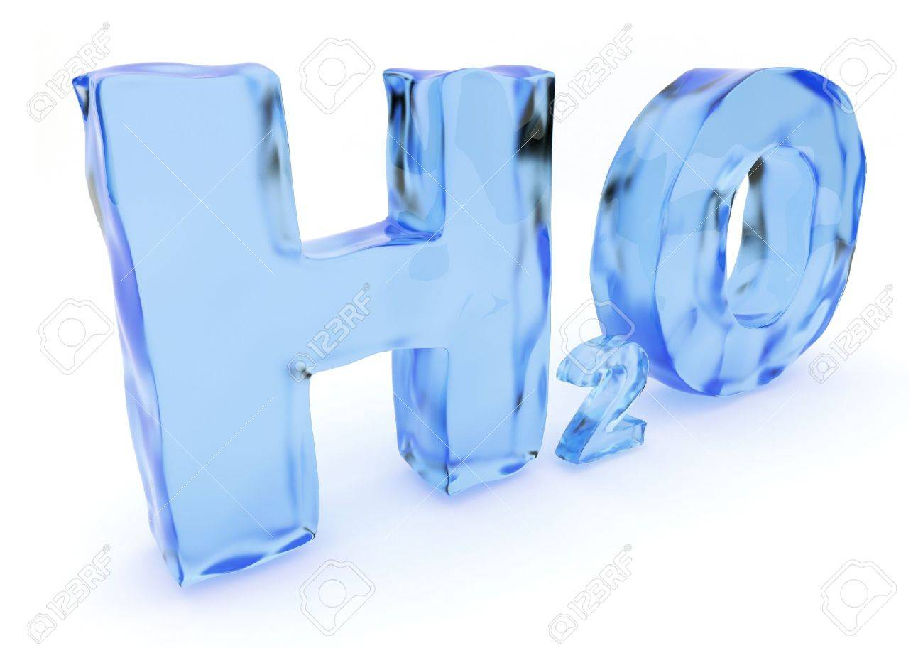 Blue H2O water 3d text. Isolated Stock Photo - 13077873