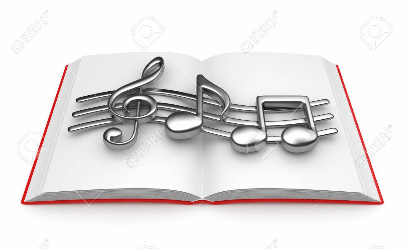Musical note on opened book 3D. Isolated on white background Stock Photo - 13078156