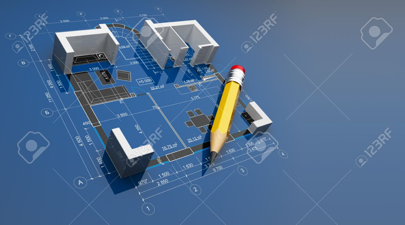 Plan of construction. On blue background Stock Photo - 13077883