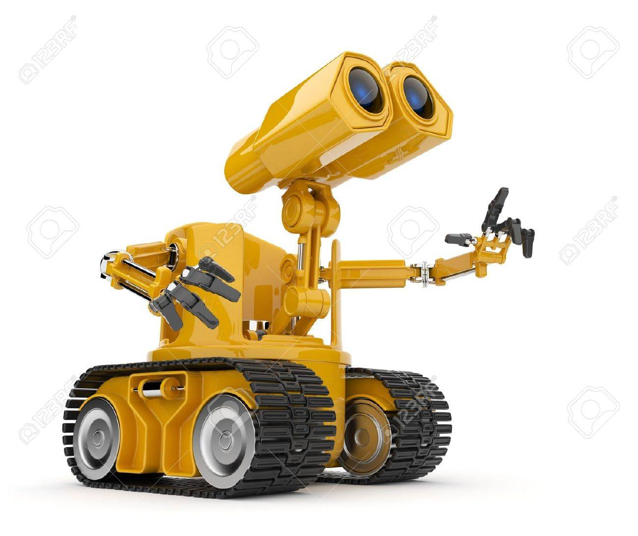 Futuristic robot talk.  Artificial intelligence concept. 3D isolated on white. Stock Photo - 13078092