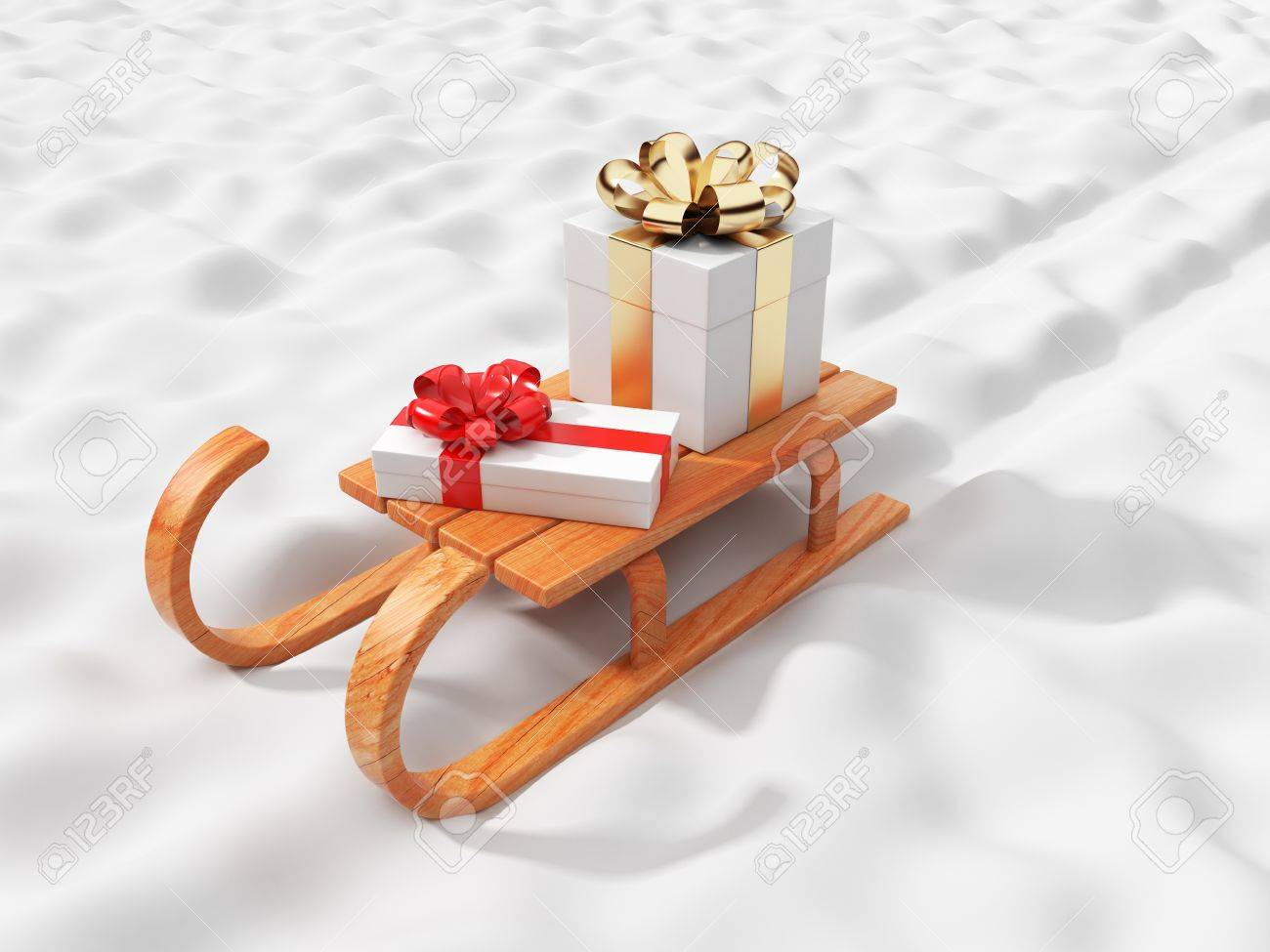 Gift On Wooden Sled, Going On Snow. Christmas Concept. 3D ...