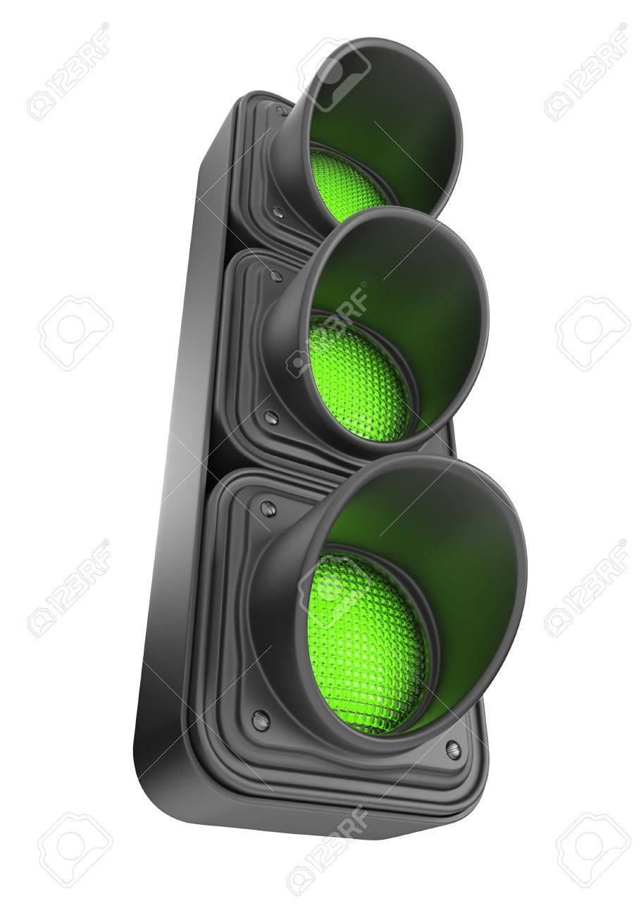 Green traffic lights 3d Movement road control Isolated on white background - 13533311