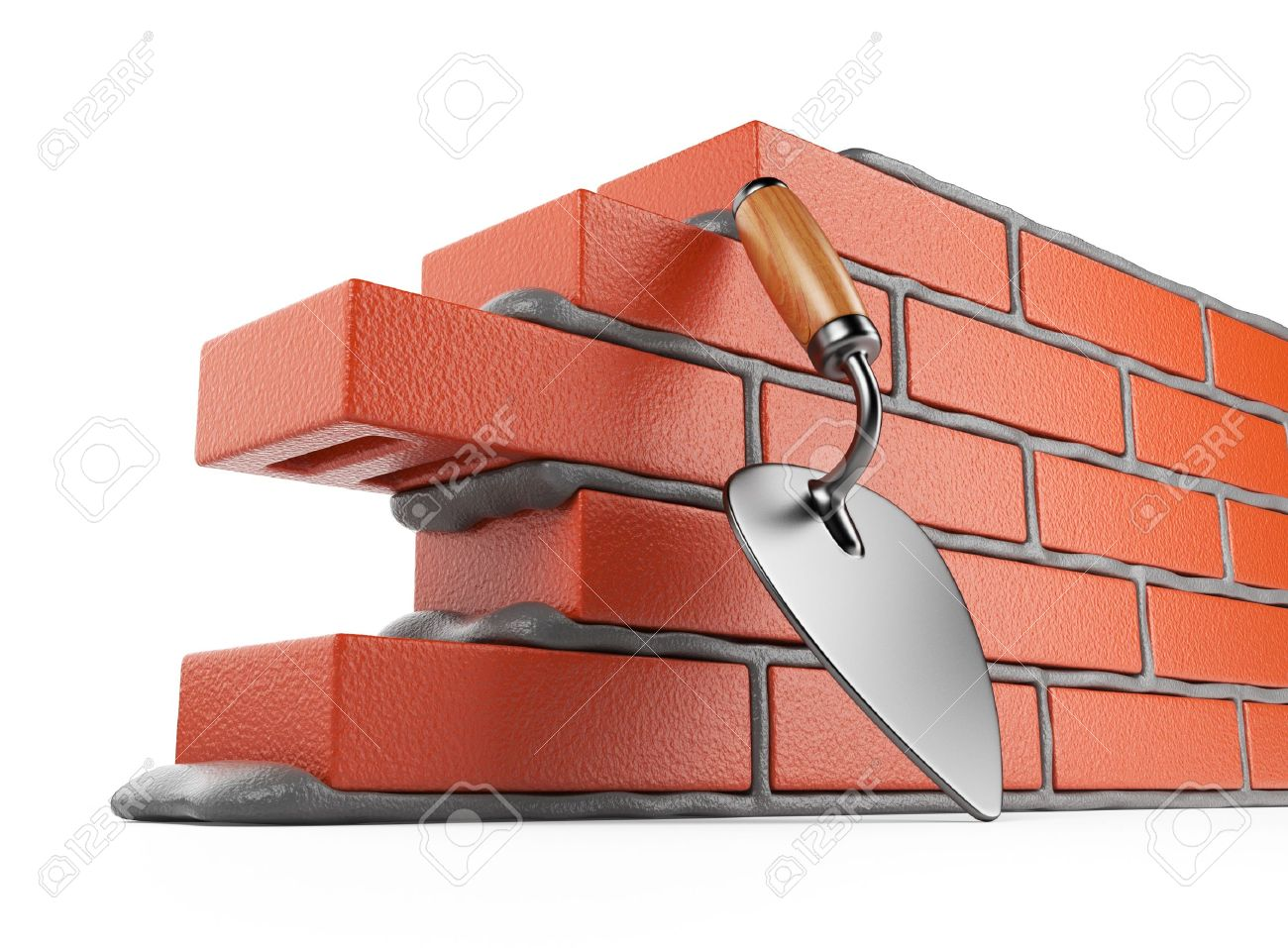 Trowel and bricks wall 3D Work place Isolated on white background - 14099028
