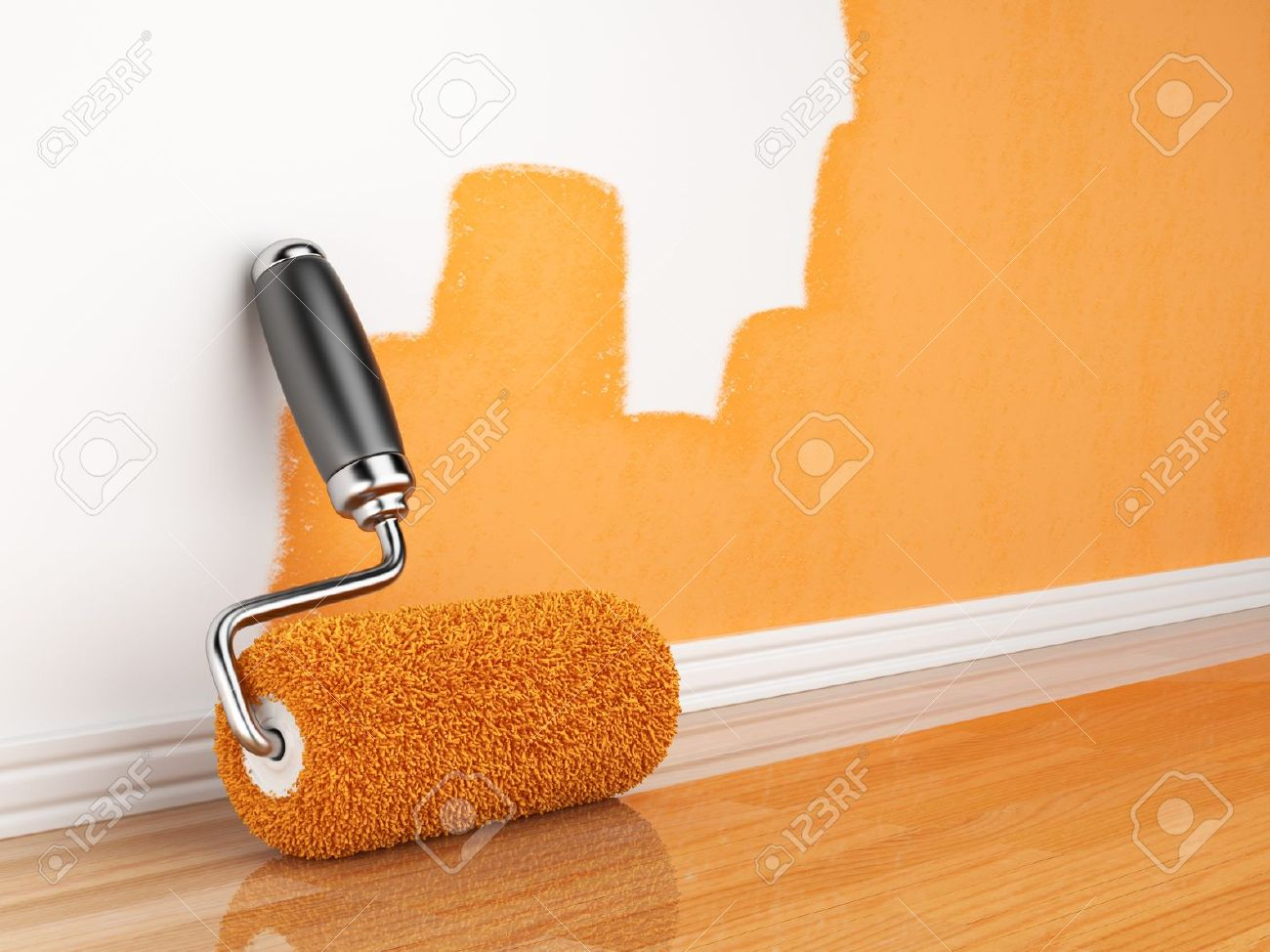 Painting of an empty wall Renovation home 3D illustration - 14099027