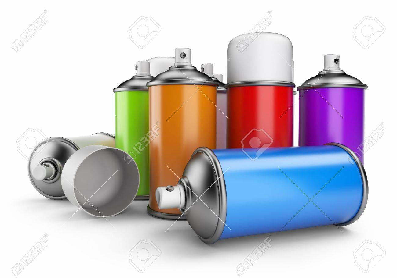 Group of spray can 3D icon isolated on white background - 14099030