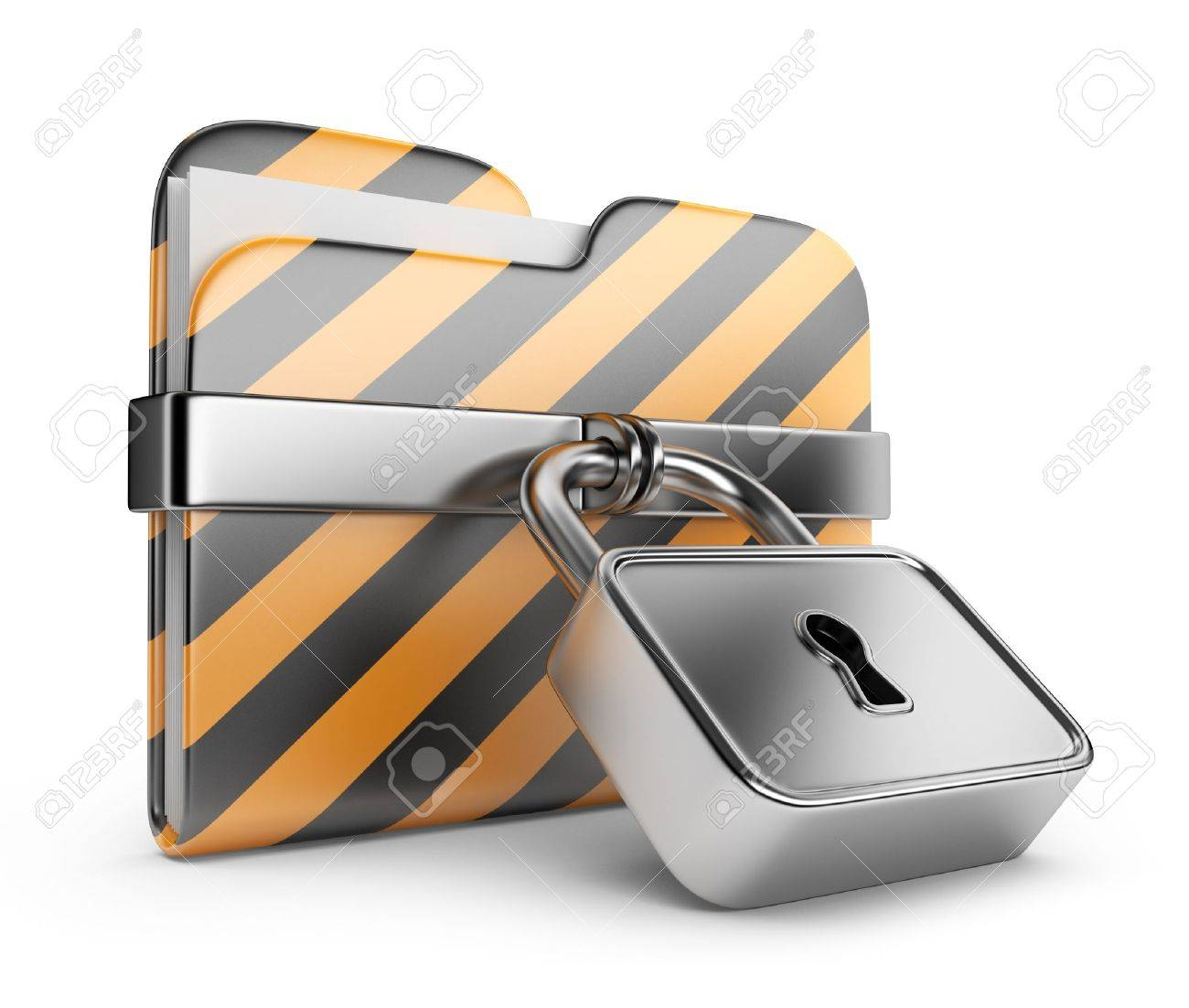 Folder with lock. Data security. 3D Icon isolated on white - 14490952