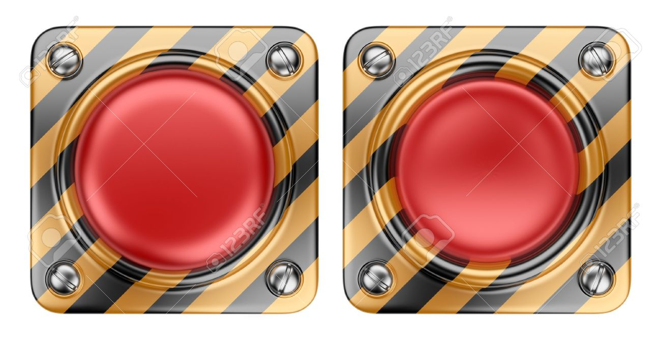 Empty alert red button  3D Icon isolated on white background Stock Photo - 14589952