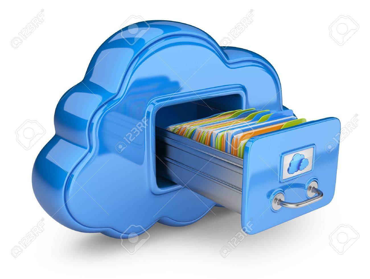 File storage in cloud 3D computer icon isolated on white - 14846799