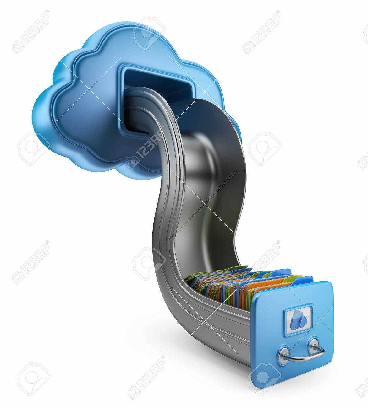 File storage in cloud  3D computer icon isolated on white Stock Photo - 14846788