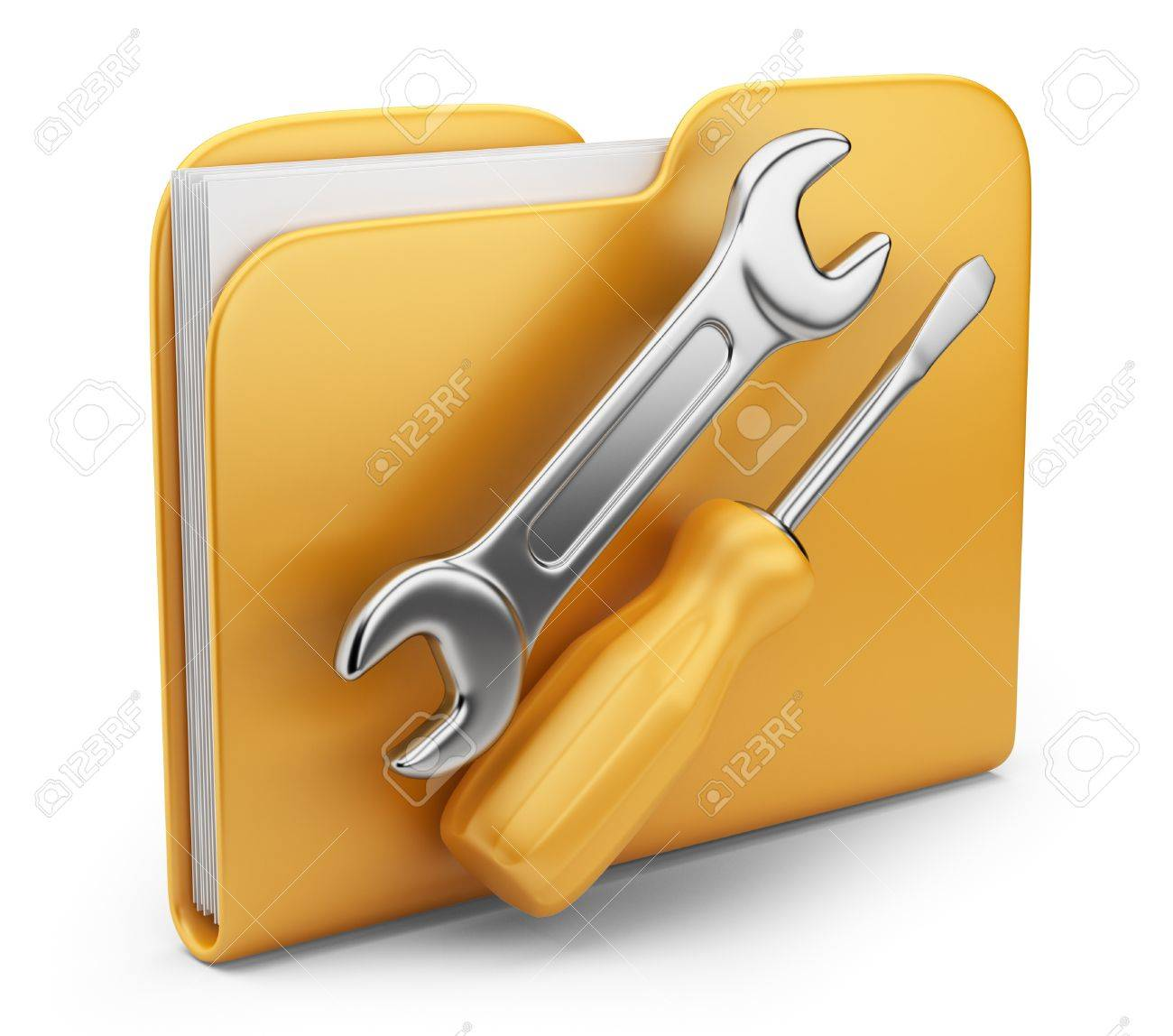 Folder with tool 3D computer icon isolated on white - 14846792