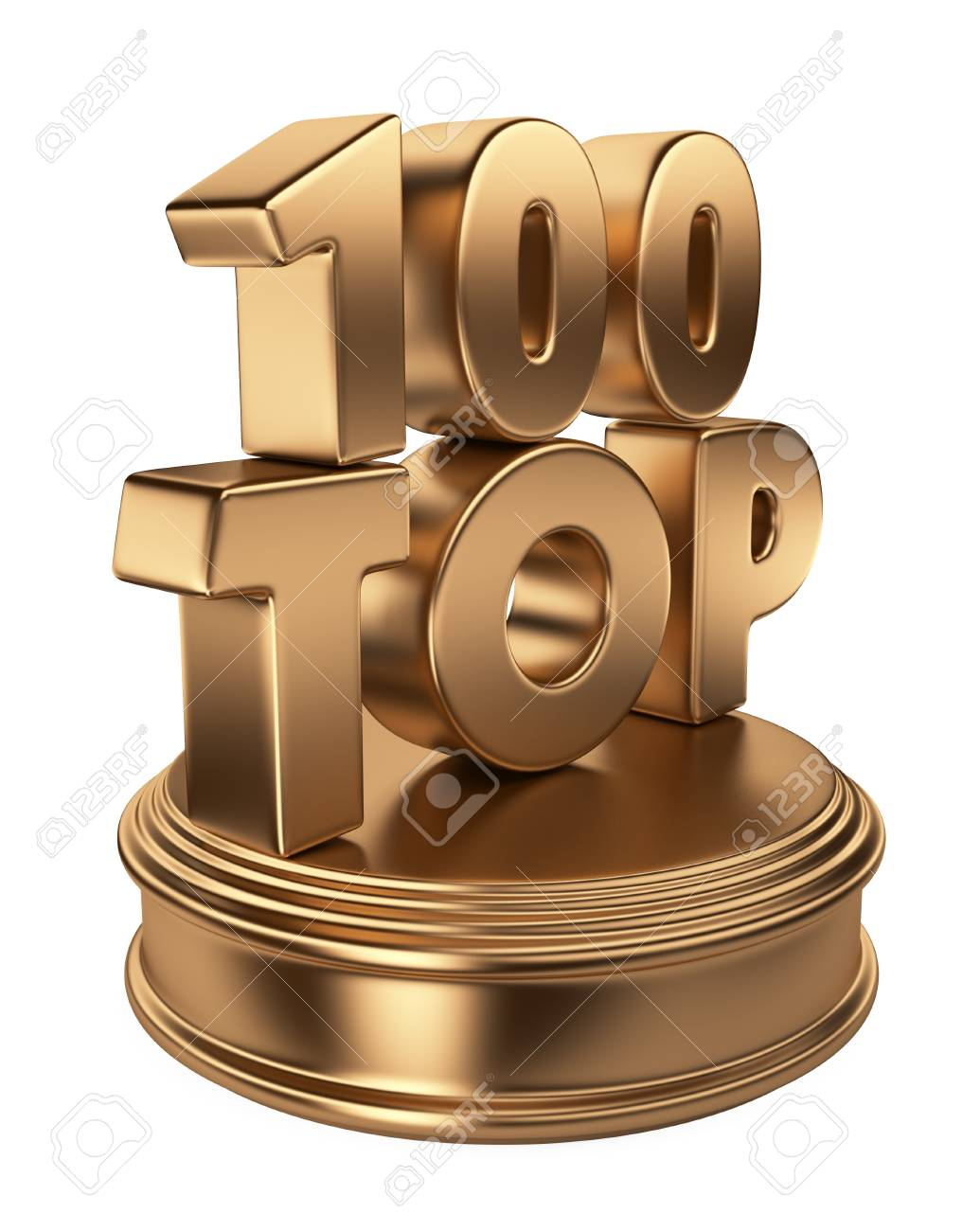 Top 100 on podium 3D icon isolated on white background - 14846798