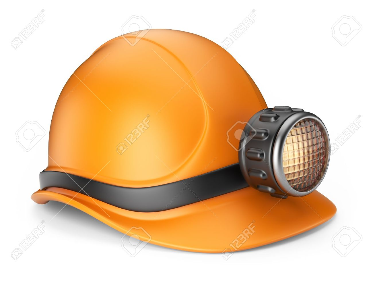 Miner helmet with lamp 3D Icon isolated on white background - 15940116