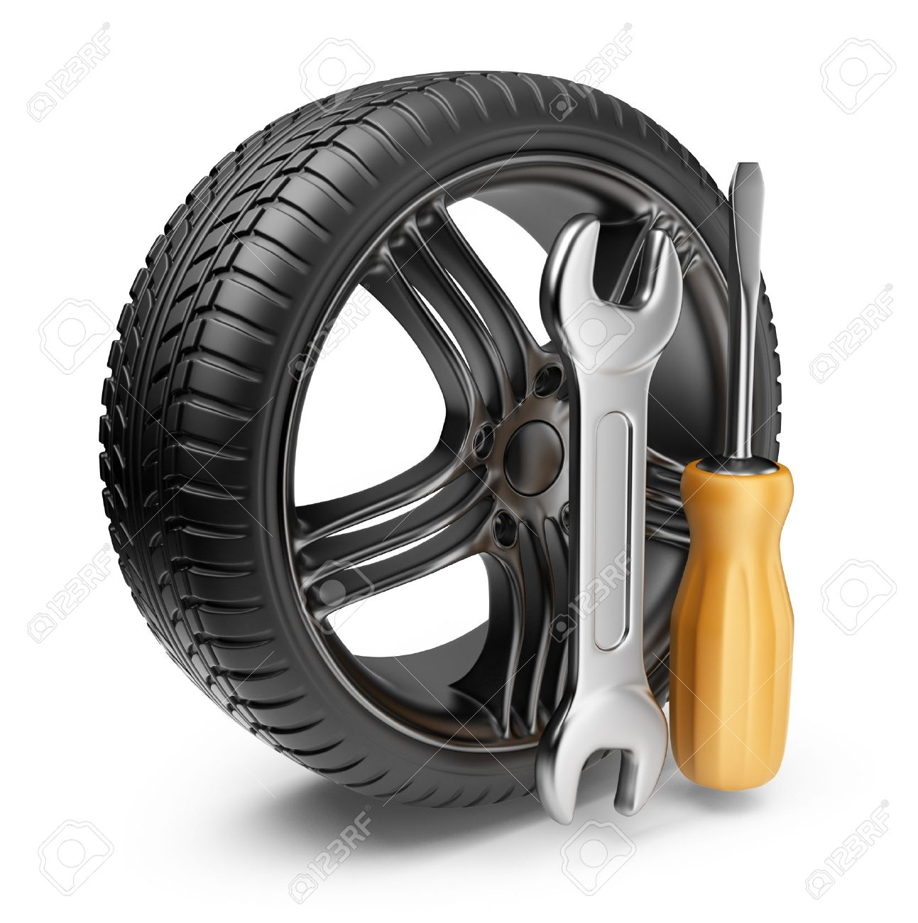 Wheel and tools Car service 3D Icon isolated on white background - 15940119