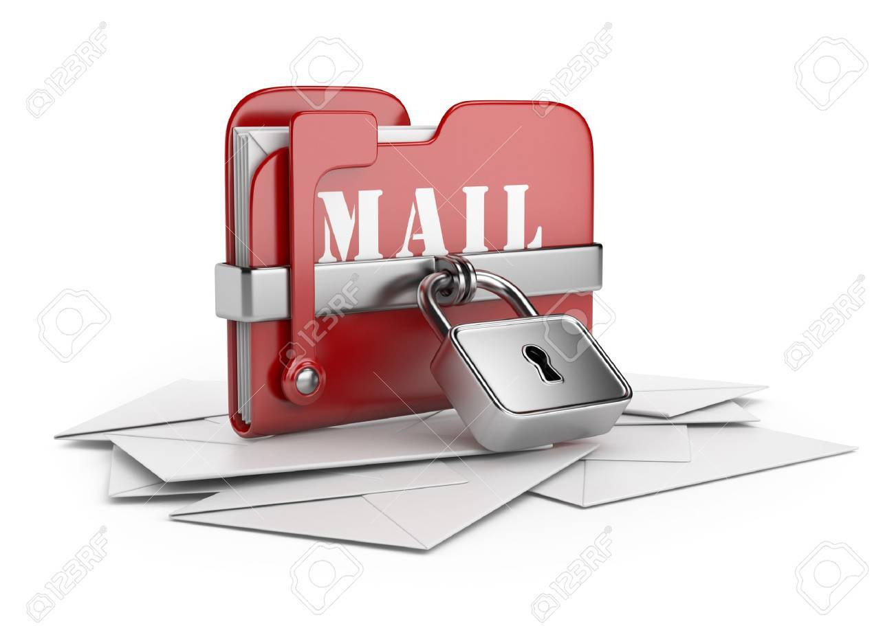 Secure mail data Email concept 3D icon isolated white background - 16691282