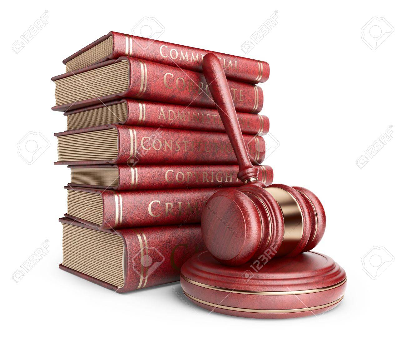 Wooden gavel with books. LAW concept. 3D Icon isolated - 18235759