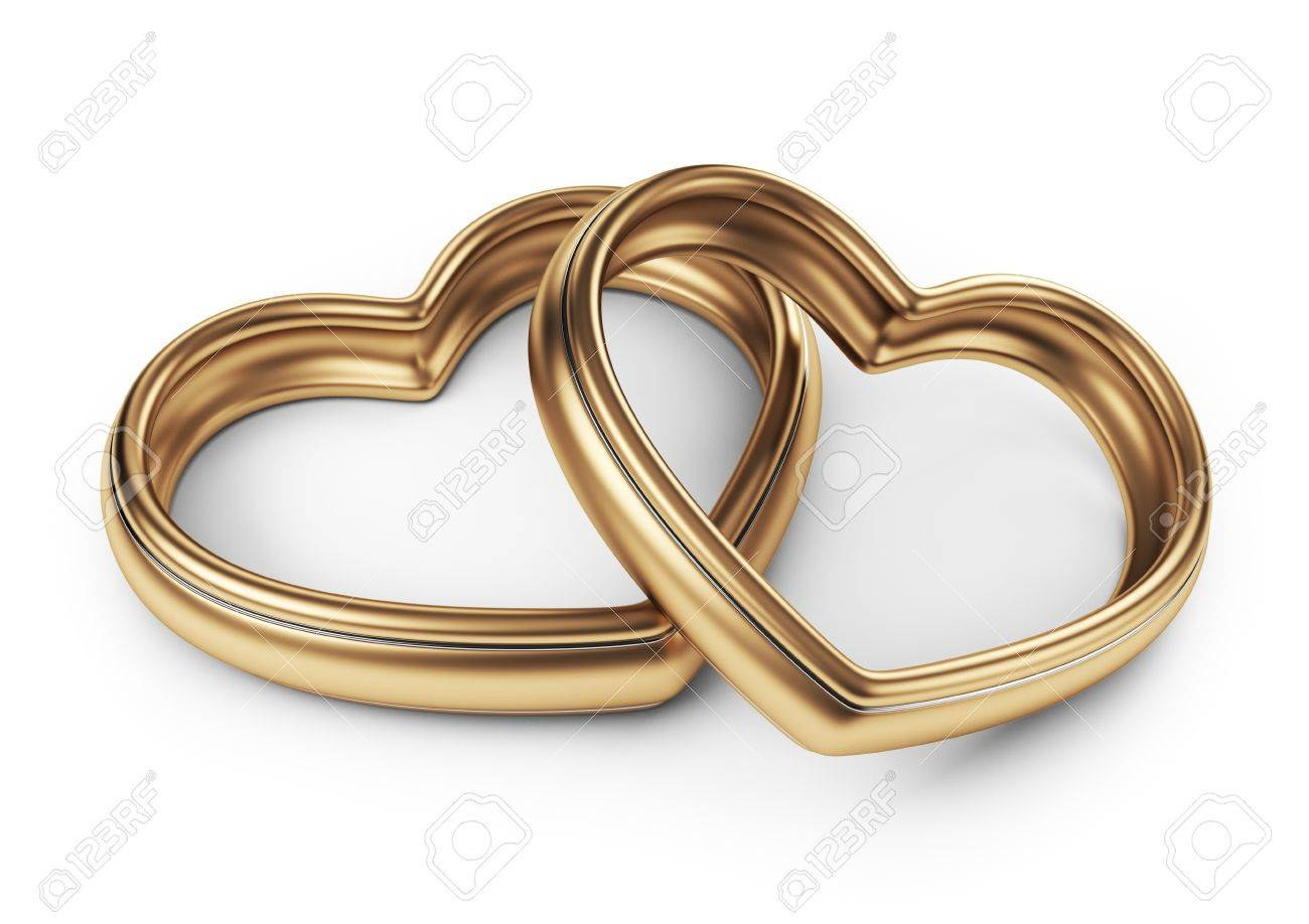 gold two love ring 3d isolated on white background stock photo