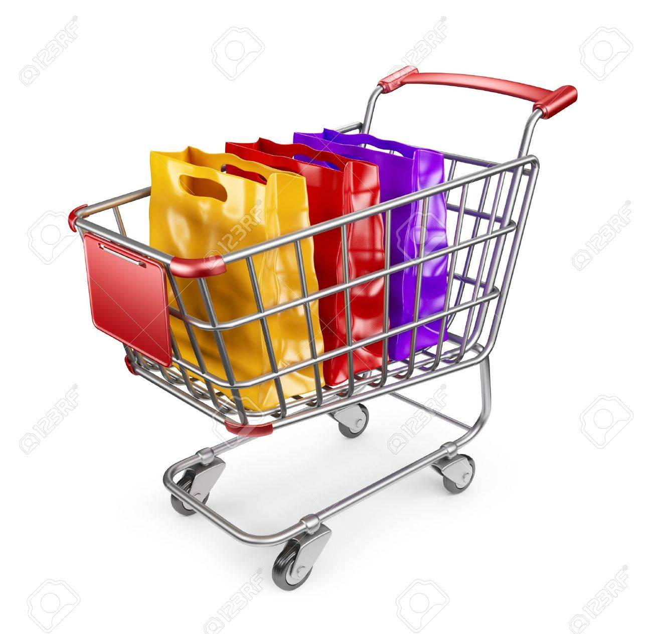 Market Cart With Shopping Bags. 3D Isolated On White Background ...