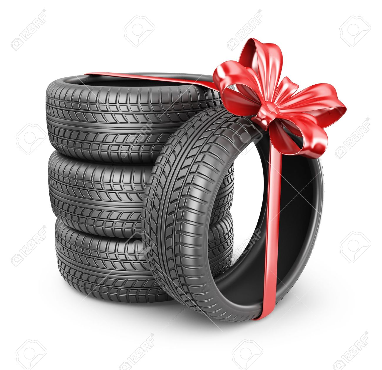 Tyres with a red ribbon Stock Photo - 21919244