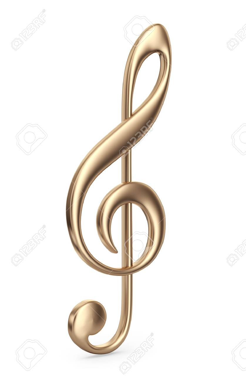 Golden music note. 3D Icon isolated on white background - 22087459