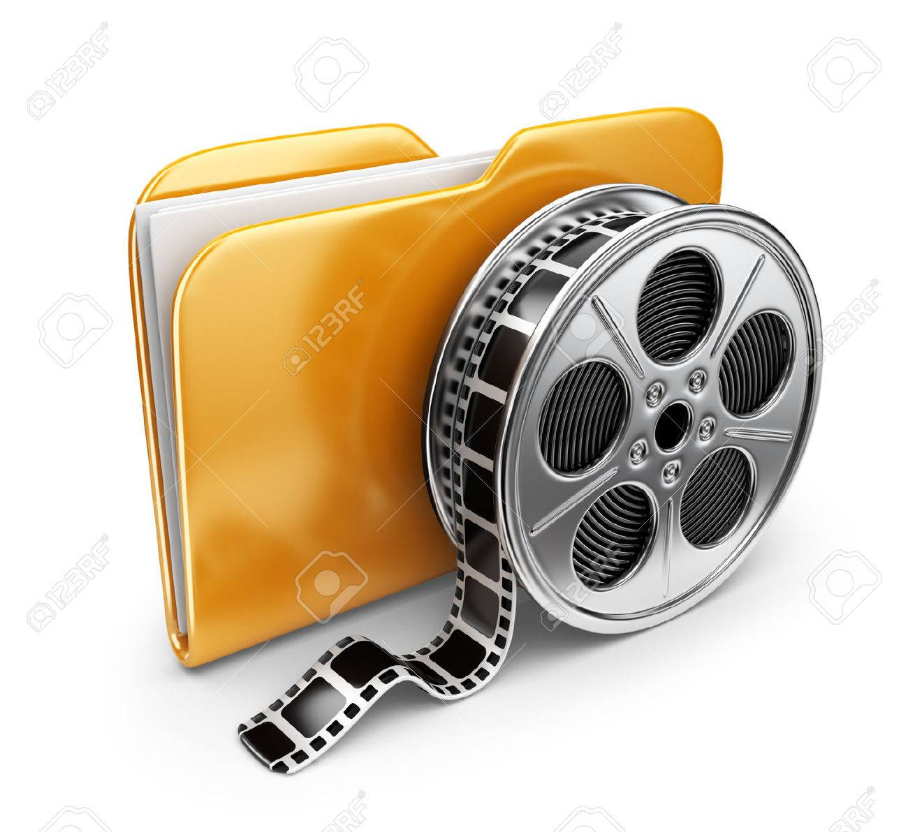 Movie folder with a films spool. 3D Icon isolated on white background - 22189942
