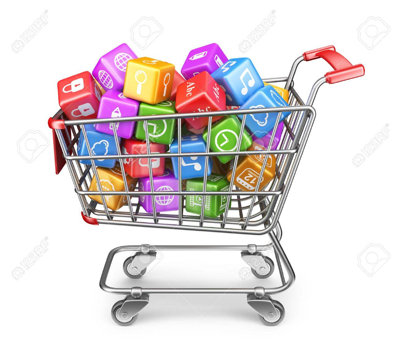 Shopping cart with app icons. 3D Isolated on white background - 24517656