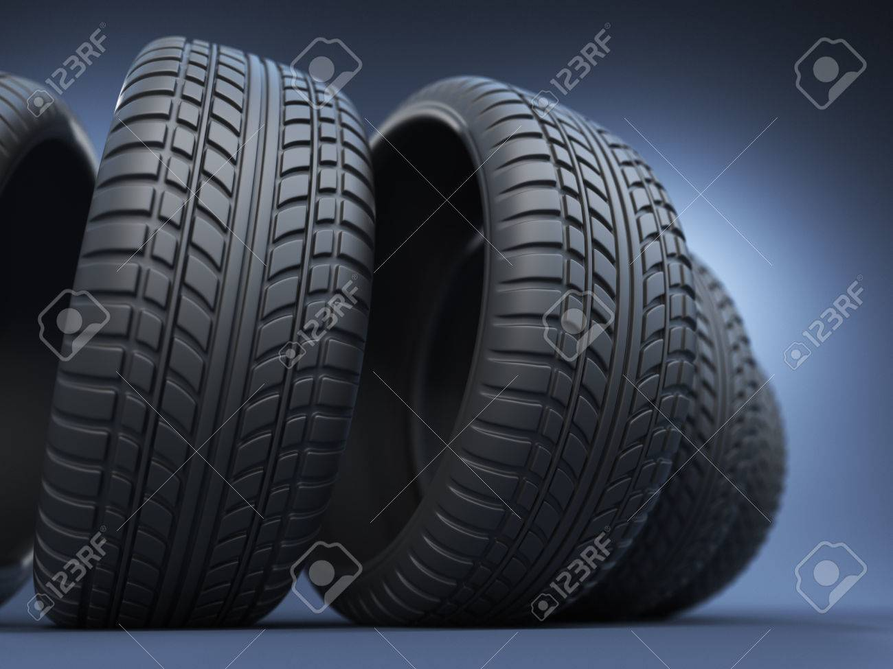 rubber tire or tyre 3D, on blue - 57515202