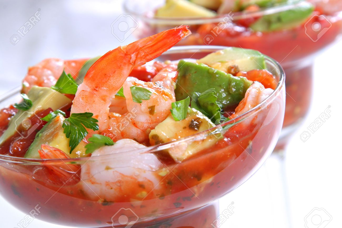 Cocktail Shrimp With Avocado Salsa Sauce Stock Photo, Picture And ...