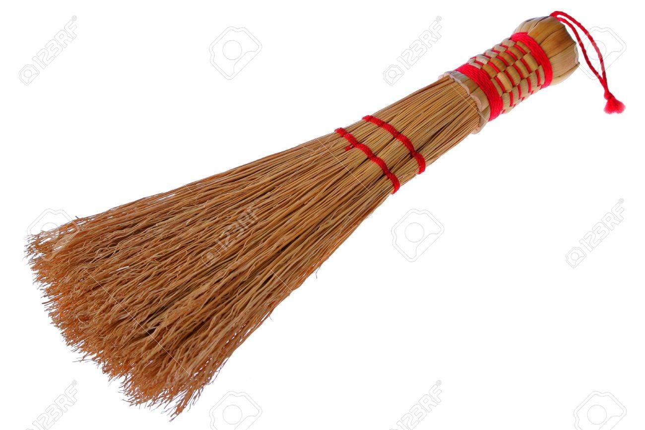 Handmade Straw Sweep on Isolated Background Stock Photo - 2638114