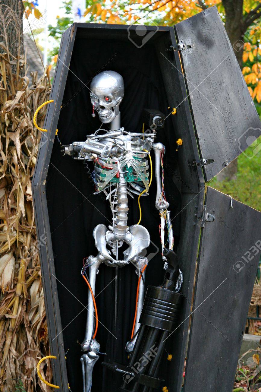 Halloween Robot Skeleton In A Coffin Decoration Stock Photo Picture