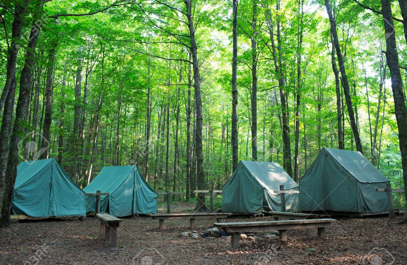 Wall Style C&ing Tents at Rustic C&ground during Daytime in Woods Stock Photo - 14481365 & Wall Style Camping Tents At Rustic Campground During Daytime ...