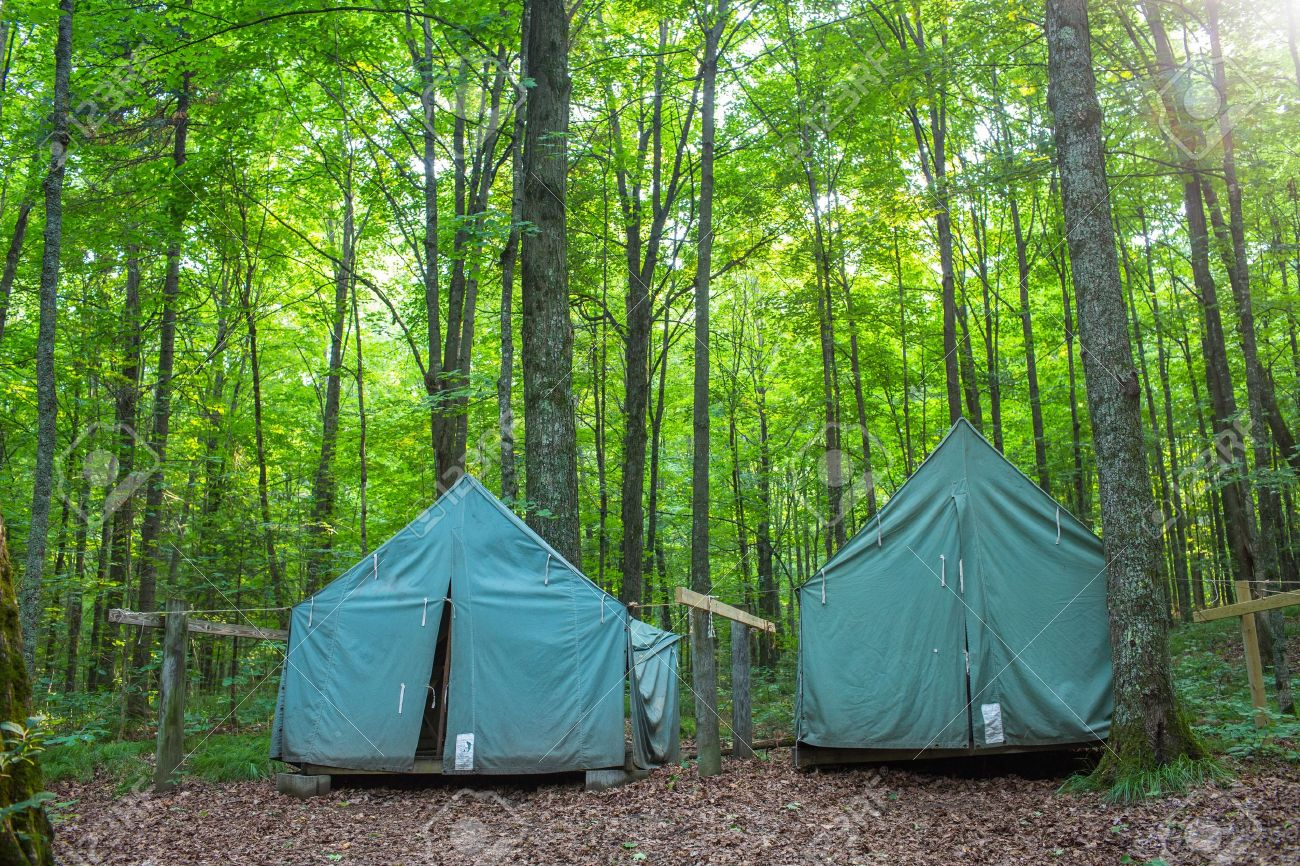 Wall Style C&ing Tents at Rustic C&ground during Daytime in Woods Stock Photo - 21534657 & Wall Style Camping Tents At Rustic Campground During Daytime ...